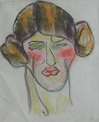 woman with hair dressed as earphones